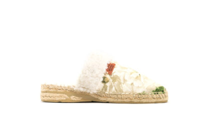 Alpargata home flores blancas mujer